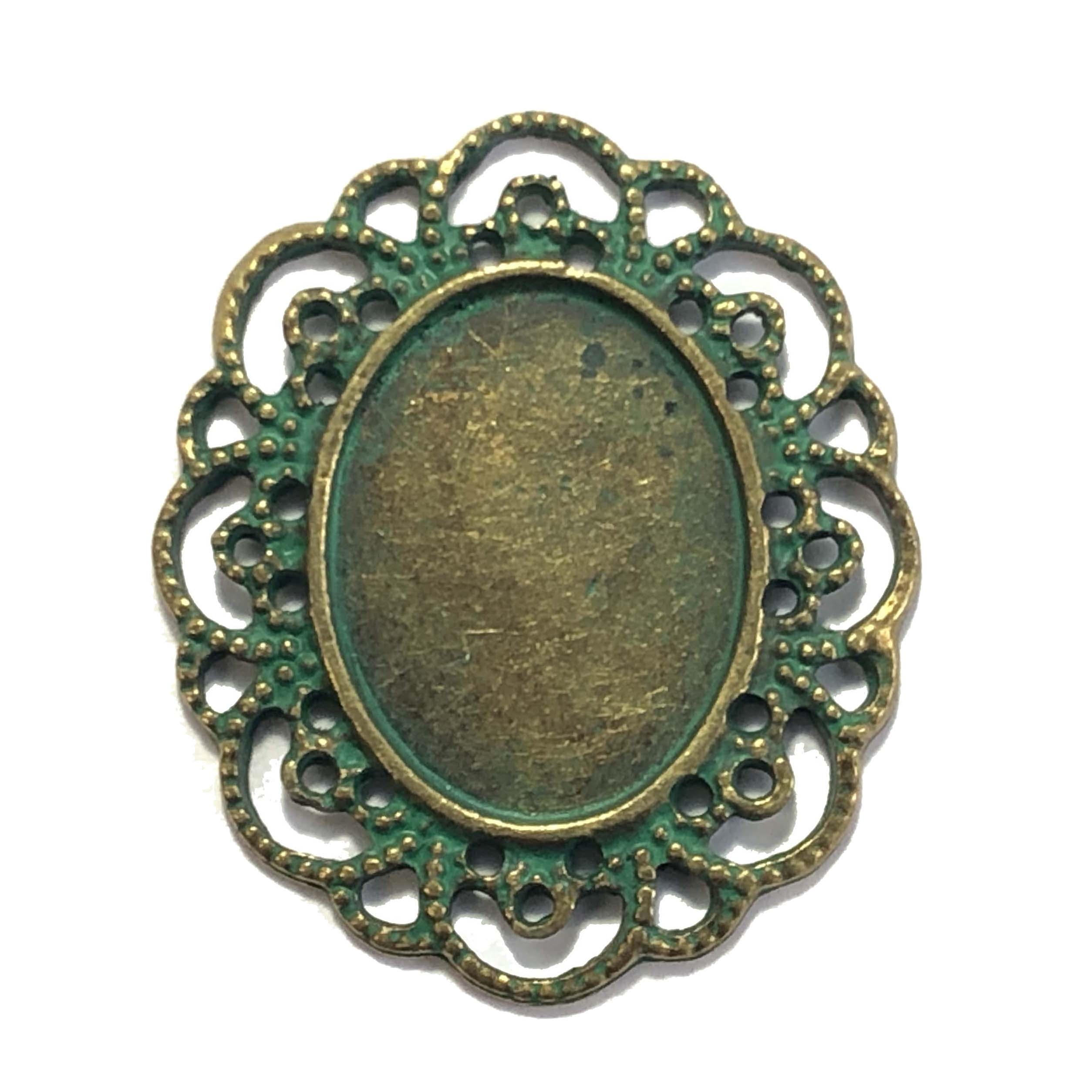 Victorian bezel, lace edge bezel, bronze, 09578, mount, ceralun, jewelry supplies, B'sue Boutiques, 25x18mm mount,  antique bronze finish, pendant, green patina, jewlery making supplies