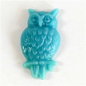 bird Jewelry, resin owls, blue, 08139, 24 x 13mm, B'sue Boutiques, plastic birds, bird jewelry, vintage jewellery supplies, flat back birds, owl jewelry, plastic owls, bird findings