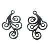 Brass Filigree, Brass Ear Drops, Spiral Design, Matte Black Ebony, US Made, Nickel Free, 30 x 21mm