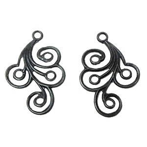 ear drops, earrings, black matte, 02306, spiral design earrings, black ear drops, matte black, jewelry supplies, B'sue Boutiques, brass ear drops
