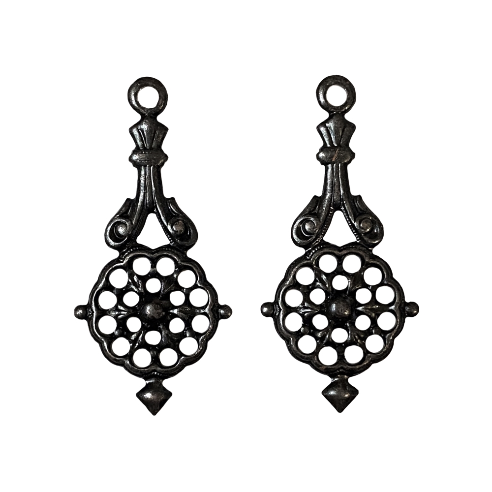 filigree ear drops, pendant, drops, filigree, matte black brass, ebony brass, ear drops, brass stamping, US-made, nickel-free, victorian style, stamping, filigree, 31x17mm, brass, jewelry making, jewelry findings, jewelry supplies, vintage supplies, 02330