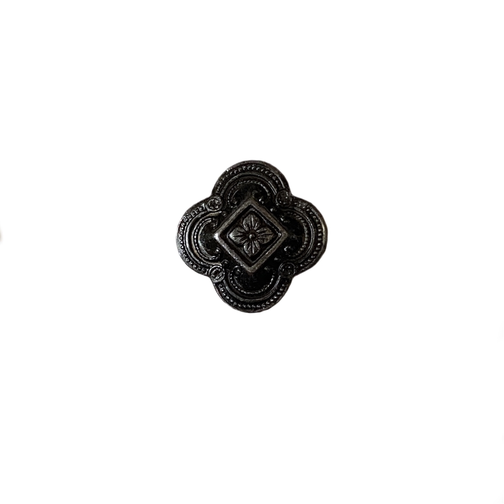 small victorian floral stamping, matte black brass, ebony brass, brass stamping, floral stamping, 15mm, US-made, nickel-free, victorian design, matte black, jewelry making, jewelry stamping, jewelry supplies, vintage supplies, jewelry findings, 02336
