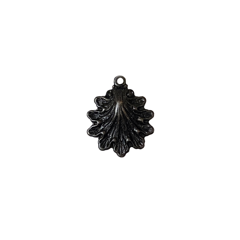 small shell charm, matte black brass, brass, ebony brass, shell, charm, jewelry charm, matte black, sea jewelry, 15x14mm, jewelry making, vintage supplies, B'sue Boutiques, US-made, nickel-free, jewelry supplies, sea charm, seashell charm, 02337