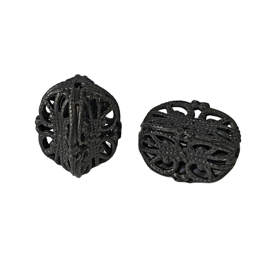 indented style cube filigree bead, matte black, ebony brass, bead, filigree, filigree bead, cube bead, designer bead, steampunk art bead, jewelry making, vintage supplies, jewelry supplies, beading supplies, black, 18x14mm, jewelry findings, 02703