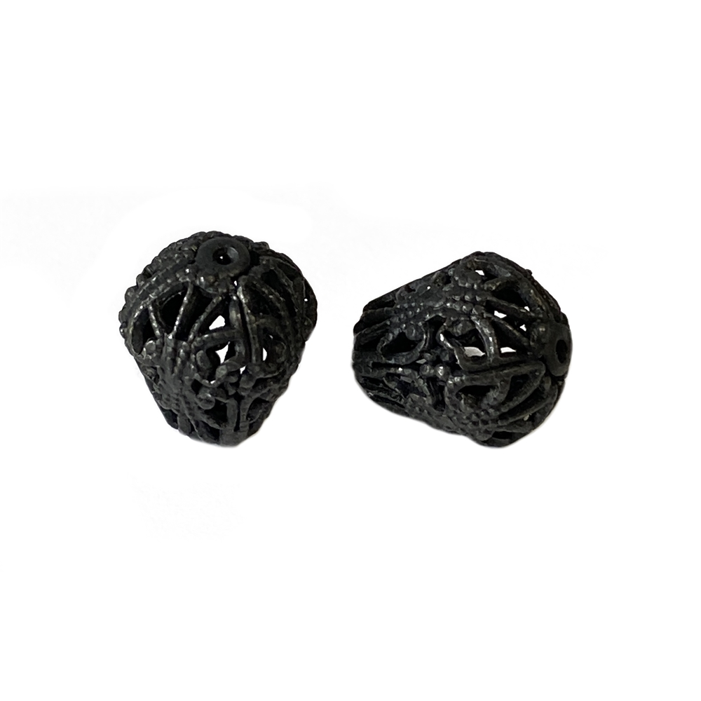 pear shape filigree bead, filigree bead, matte black, ebony brass, black, metal beads, bead, pear shape bead, pear filigree bead, 13x12mm, jewelry bead, jewelry making, jewelry supplies, vintage supplies, jewelry findings, B'sue Boutiques, 02706