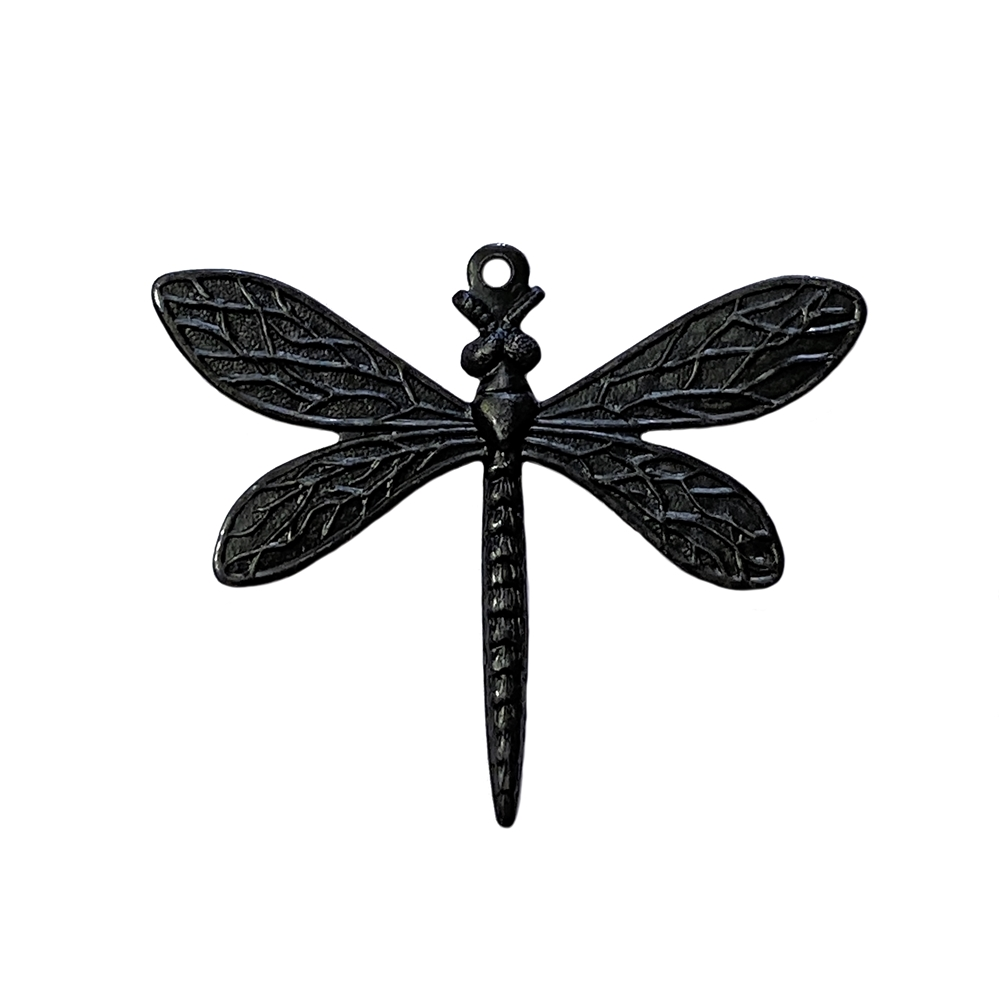 dragonfly pendant, matte black, ebony brass, dragonfly, pendant, brass pendant, US made, nickel free, 40x41mm, bug charm, jewelry making, dragonfly jewelry, vintage supplies, jewelry supplies, jewelry findings, brass stamping, B'sue Boutiques, 02798