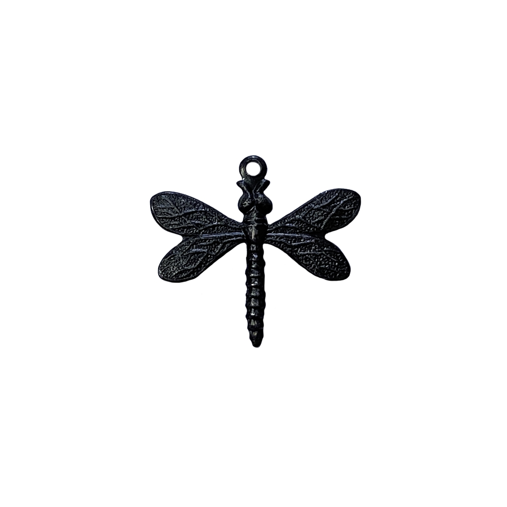 dragonfly charm, matte black, ebony brass, dragonfly, charm, brass charm, US made, nickel free, 20x21mm, bug charm, jewelry making, dragonfly jewelry, vintage supplies, jewelry supplies, jewelry findings, brass stamping, B'sue Boutiques, 02802