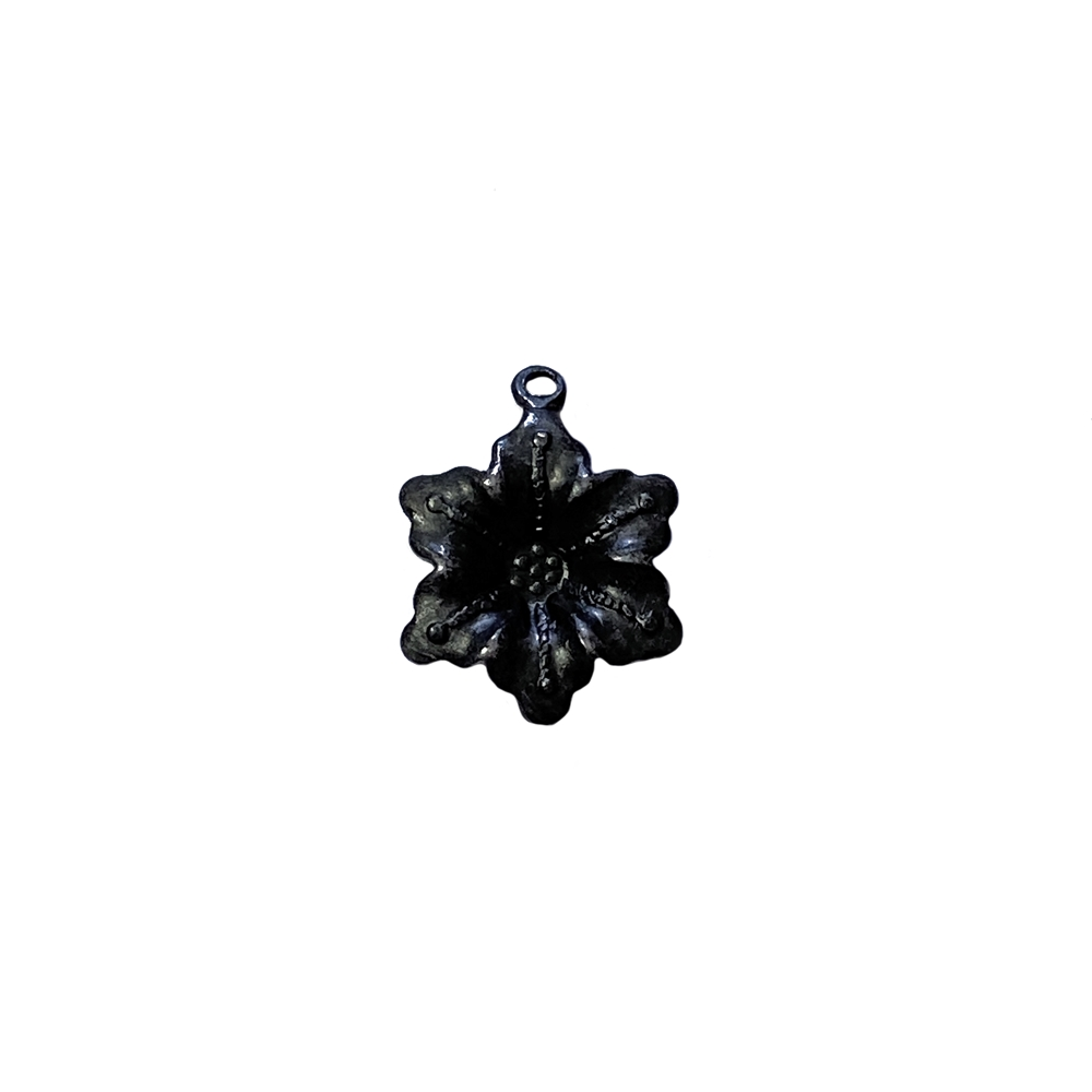 flower drop charm, matte black, ebony brass, 15mm, flower charm, charm, charm jewelry, drop charm, flower drop, flower, jewelry flower, jewelry supplies, jewelry making, vintage supplies, jewelry findings, 02903