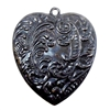 Heart Pendant, Brass Stampings, Feathery Design, Matte Black Ebony, 54mm