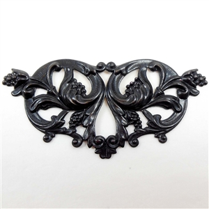 Brass Stamping, Victorian Style, Leaf with Berry Clusters, Matte Black Ebony 1.50 x 3.50 Inches