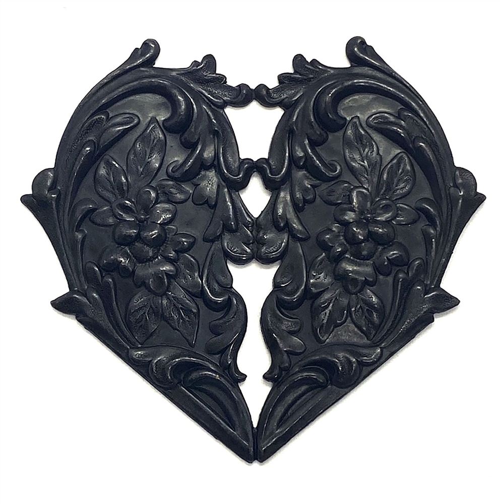 brass heart, floral heart, matte black, 03580, heart, centerpiece, focal, heart stamping, black brass, B'sue Boutiques, jewelry supplies