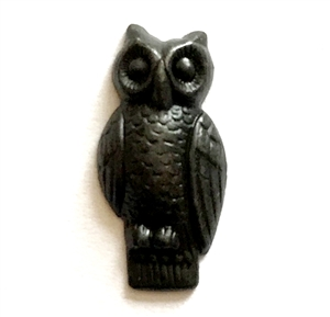 perched owl stamping, matte black, ebony brass, owl, owl stamping, brass, 23x11mm, stamping, perched owl, perched, us made, nickel free, B'sue Boutiques, owl jewelry, vintage supplies, jewelry supplies, jewelry making, jewelry findings, 03581