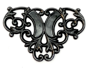 brass filigree, matte black, 29 x 44mm, 05196, antique black, US made, nickel free jewelry supplies, jewelry making supplies, Bsue Boutiques, brass connectors, Art Nouveau Style,