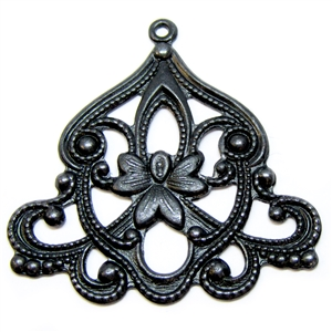 brass floral pendant, matte black, 05197, vintage jewelry supplies, jewelry making supplies, nickel free, US made, Bsue Boutiques, filigree pendants,