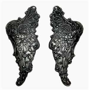 victorian wings, matte black, wings, brass, antique black, wing stamping, brass wings, iron, drilled, victorian, earrings, us made, nickel free, B'sue Boutiques, jewelry making, jewelry findings, vintage supplies, jewelry supplies, 54x23mm, 05198