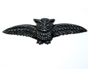 brass owl, matte black, 05202, antique black, brass stampings, owl jewelry, US made, nickel free jewelry supplies, jewelry making supplies, vintage jewelry supplies, Bsue Boutiques