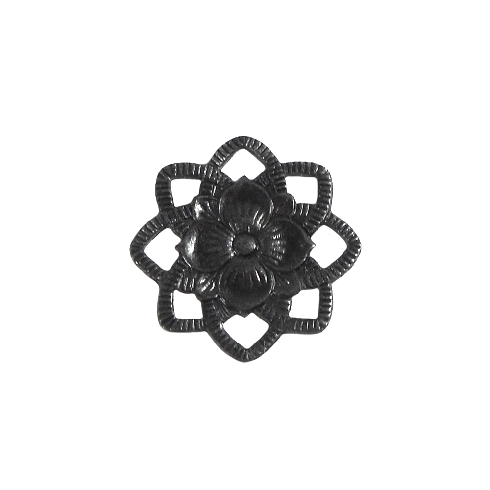 beading flower, matte black, connector, ebony brass, matte black brass, flower, flower connector, brass stamping, brass flower, antique black, 22mm, US made, nickel free, charm, jewelry making, B'sue Boutiques, vintage supplies, jewelry findings, 06461