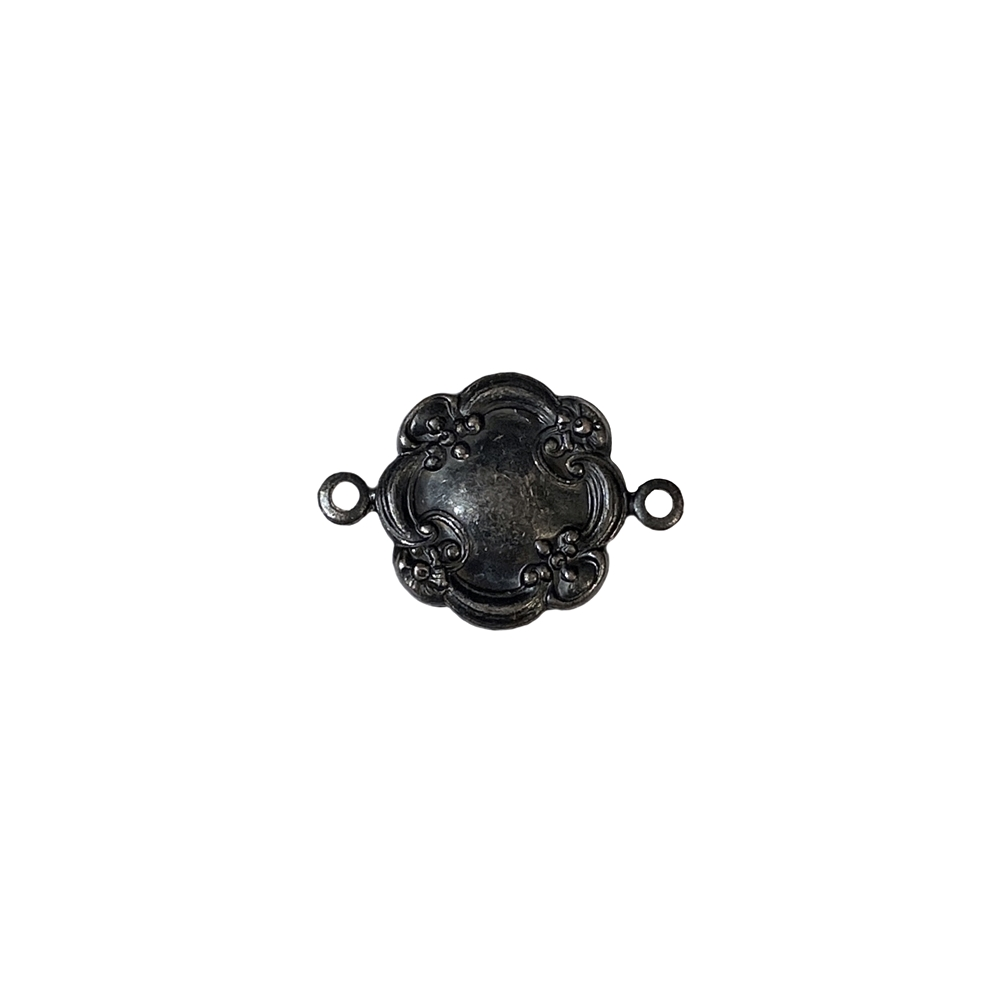 victorian floral connector, matte black brass, ebony brass, floral connector, connector, jewelry connector, brass stamping, jewelry making, jewelry supplies, jewelry findings, vintage supplies, matte black finish, 14mm, US-made, nickel-free, 06604