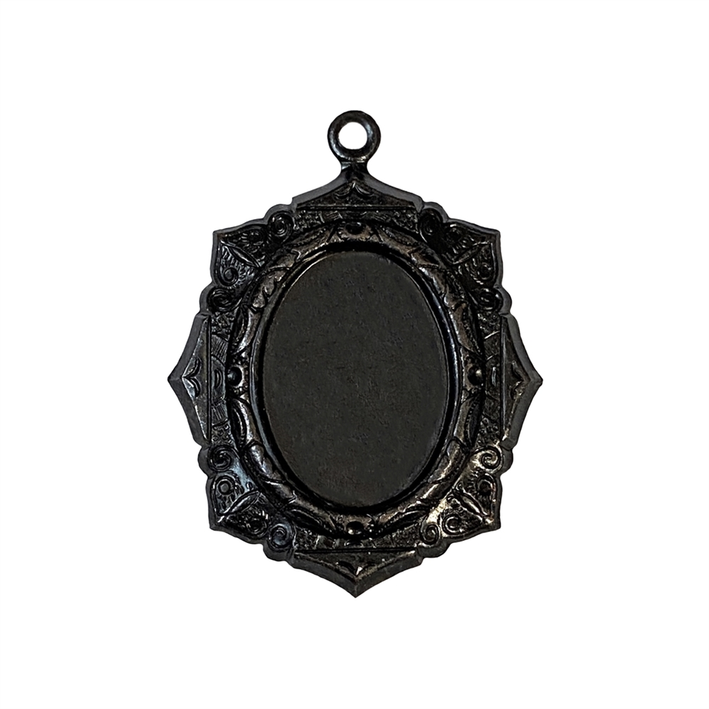 victorian floral design pendant mount, matte black brass, ebony brass, pendant mount, mount, pendant, jewelry mount, jewelry pendant, stone mount, cameo mount, nickel-free, US-made, vintage supplies, jewelry supplies, jewelry making, 18x13mm mount, 06606