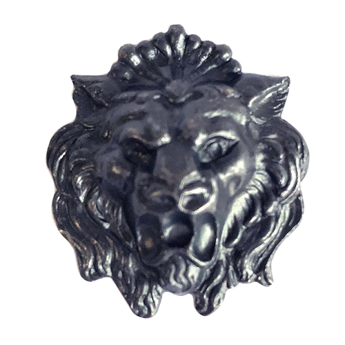 ferocious lion head, brass stamping, matte black, lion, dapt, hollow back, animal, 27x24mm, head, nickel free, us made, jewelry findings, B'sue Boutiques, roaring lion, brass, vintage supplies, jewelry supplies, 06618