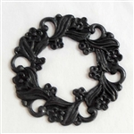wreath, floral wreath, jewelry connectors, 07741, B'sue Boutiques, nickel free jewelry, US made jewelry, vintage jewellery supplies, jewelry making supplies, beading supplies, wiring supplies for jewelry making, matte black ebony