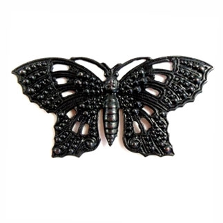 brass butterflies, butterfly jewelry, 07747, Victorian jewelry, Victorian Butterflies, B'sue Boutiques, nickel free jewelry, US made jewelry, vintage jewellery supplies, jewelry making supplies, designer jewelry, matte black ebony, filigree butterflies
