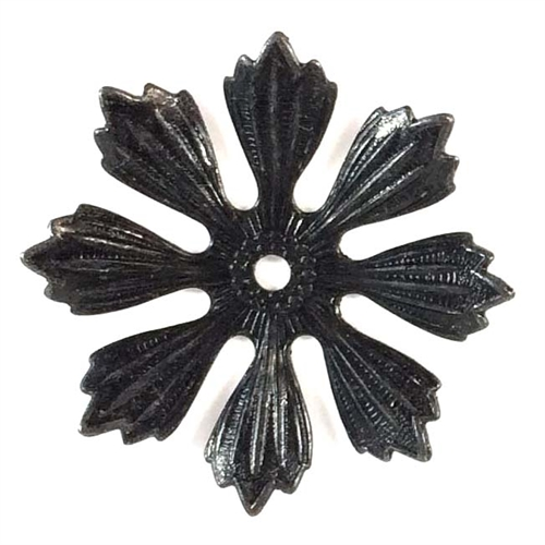 brass leaves, brass pinwheel, drilled,08403, matte black, antique black, eight petal leaf, US made jewelry supplies, vintage jewellery supplies, nickel free jewelry supplies. leaf findings