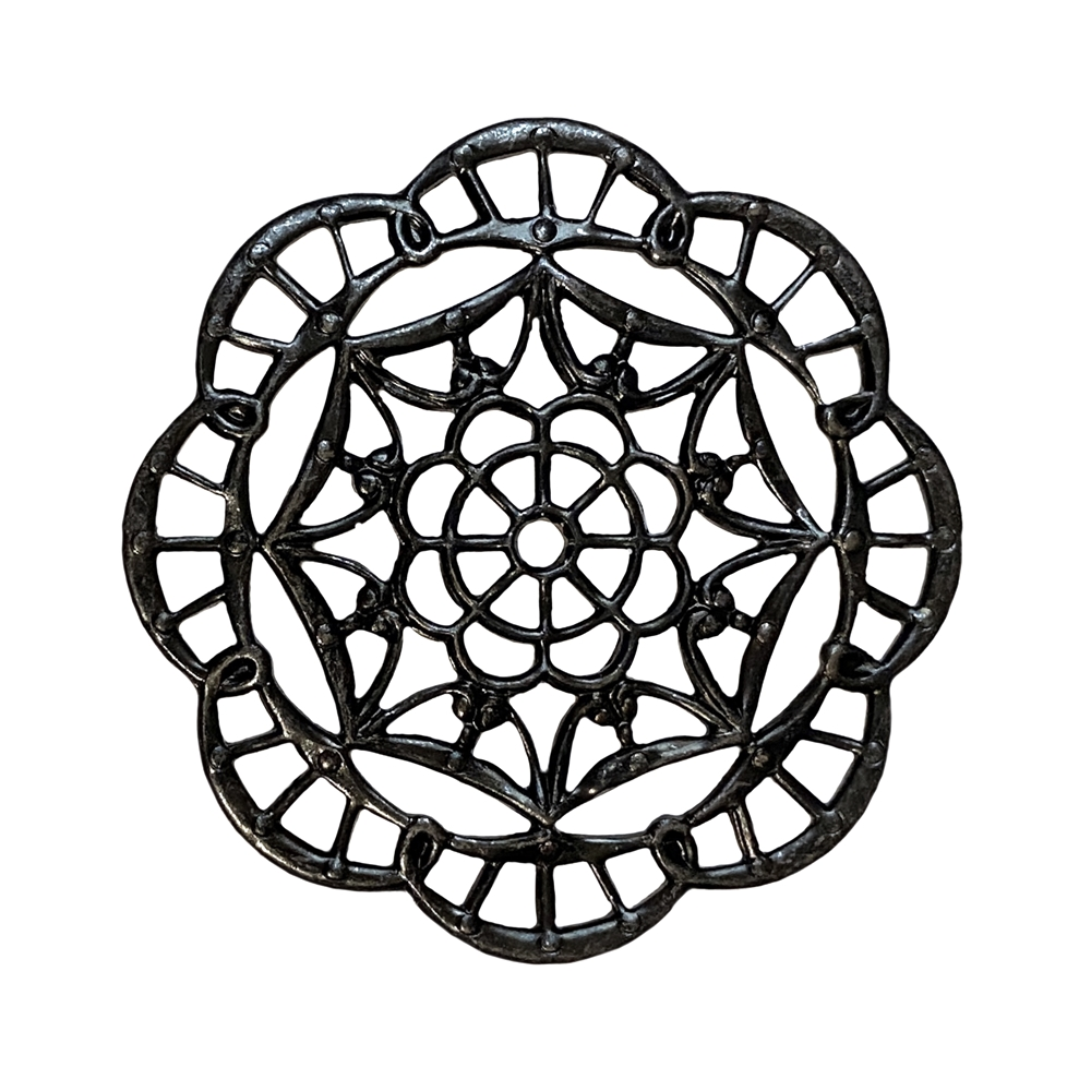 brass filigree, spider web filigree, jewelry making, 09055, matte black, antique brass, B'sue Boutiques, nickel free, US made, brass jewelry supplies, vintage jewelry supplies, beading filigree, drilled center, stampings brass