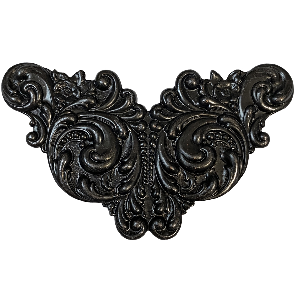 Victorian wing design stamping, matte black brass, ebony brass, brass stamping, victorian design stamping, winged stamping, US-made, nickel-free, matte black, black stamping, jewelry making, vintage supplies, jewelry supplies, jewelry findings, 09059