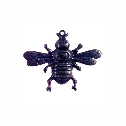 brass bee, bee charms, matte black, 09268, B'sue Boutiques, bee jewelry, bee with stone set, brass jewelry findings, vintage jewelry supplies, jewelry making