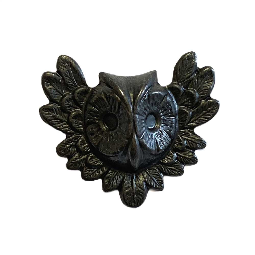 Brass Stamping, Feathery Owl, Matte Black Ebony, 26 x 31mm