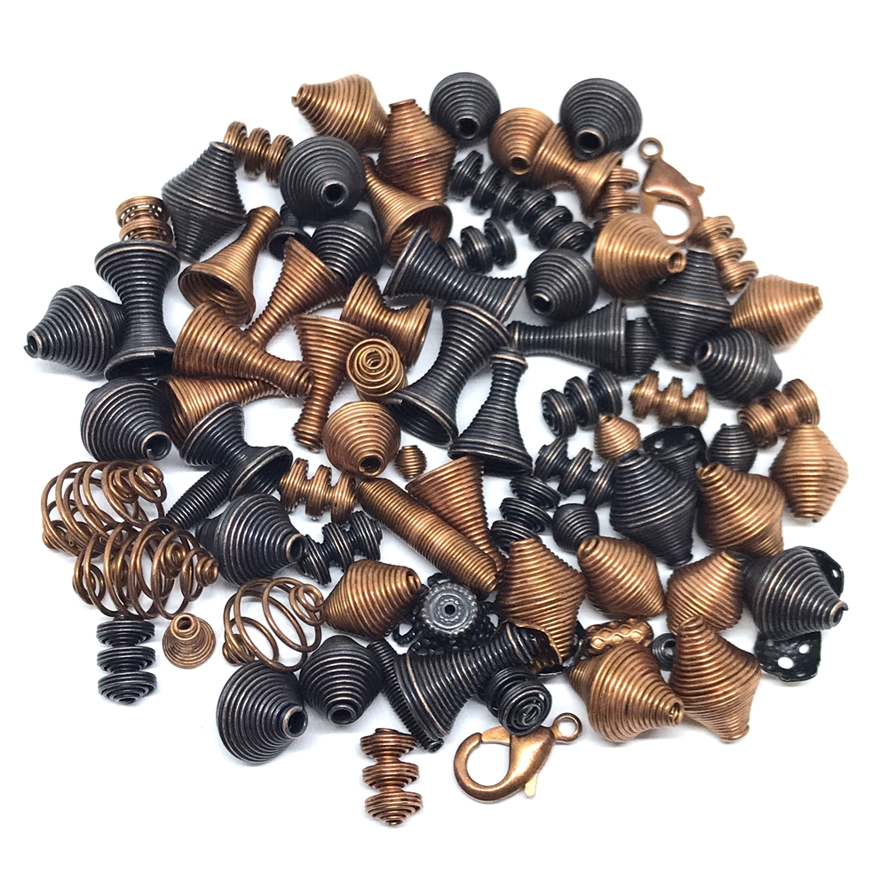 vintage metal beads, coil beads, antique copper, rusted iron, bead caps, metal beads, spring bead caps, bead caps, springy metal beads, cone beads, vintage supplies, jewelry making, jewelry supplies, beading supplies, B'sue Boutiques, 01342