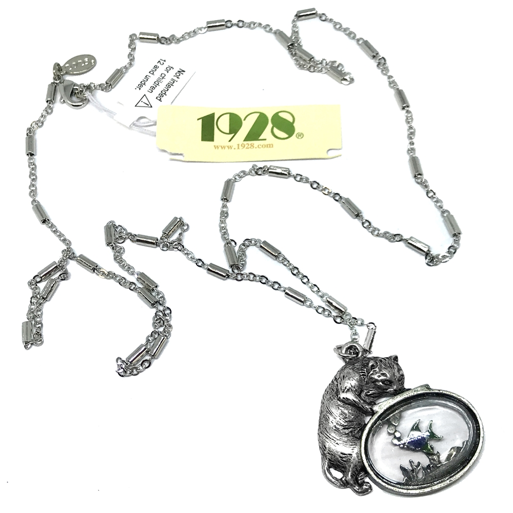 1928 Jewelry Company, cat pendant, necklace, cat necklace, kitty, hand antiqued pewter, US made, made in the USA, pewter, 1928 pieces, B'sue by 1928, B'sue Boutiques, 1928/01444