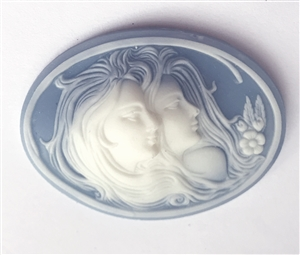 cameos, imported resin, twin sisters, 03047, vintage jewelry supplies, vintage cameos, wedgewood blue cameos, jewelry making supplies, Bsue Boutiques, 40 x 54mm, extra large cameos