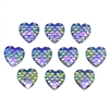 purple mermaid scale cabochons, hearts, 03145, flat back cabs, resin cabochons, jewelry making supplies, vintage supplies, heart shaped cabs, iridescent cabochons, mermaids, fish scales, purple hearts, 12mm
