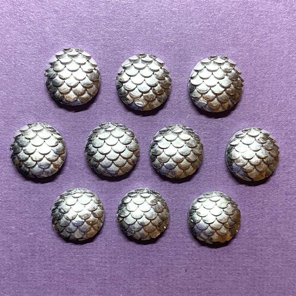 silver mermaid scale cabochons, round, 03147, flat back cabs, resin cabochons, jewelry making supplies, vintage supplies, round cabs, mermaids, fish scales, silver cabs, 12mm