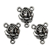 rose flower lavaliers, connectors, lavalier style connectors, antique silver, 03261, cast zinc, connector, roses, flowers, flower connectors, B'sue Boutiques, jewelry supplies, jewlery making