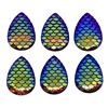 rainbow mermaid scale cabochons, teardrop, 03280, flat back cabs, resin cabochons, jewelry making supplies, pear shaped cabs, iridescent cabochons, mermaids, fish scales, rainbow cabs, 25x18mm