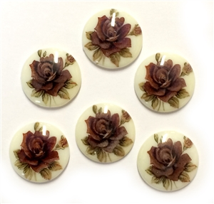 Vintage German Cameos, Floral Chocolate Rose, Porcelain Cameos, Decal Transfer, Vintage Jewelry Supplies, 20mm, B'sue Boutiques