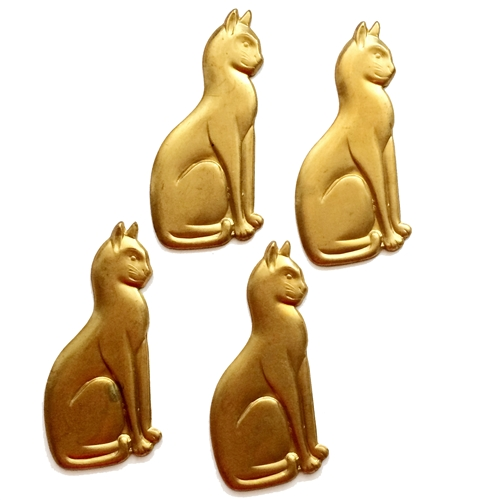 Vintage Sitting Kitty, Brass Cat Stamping, 4 Piece, Cat Jewelry, Raw Brass, 65 x 30mm, Bsue Boutiques