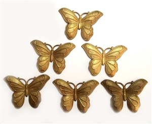 Vintage French Butterflies, Butterfly Stampings, Vintage Jewelry Supplies, Gingerbread Patina, Heavy, 31 x 45mm, B'sue Boutiques