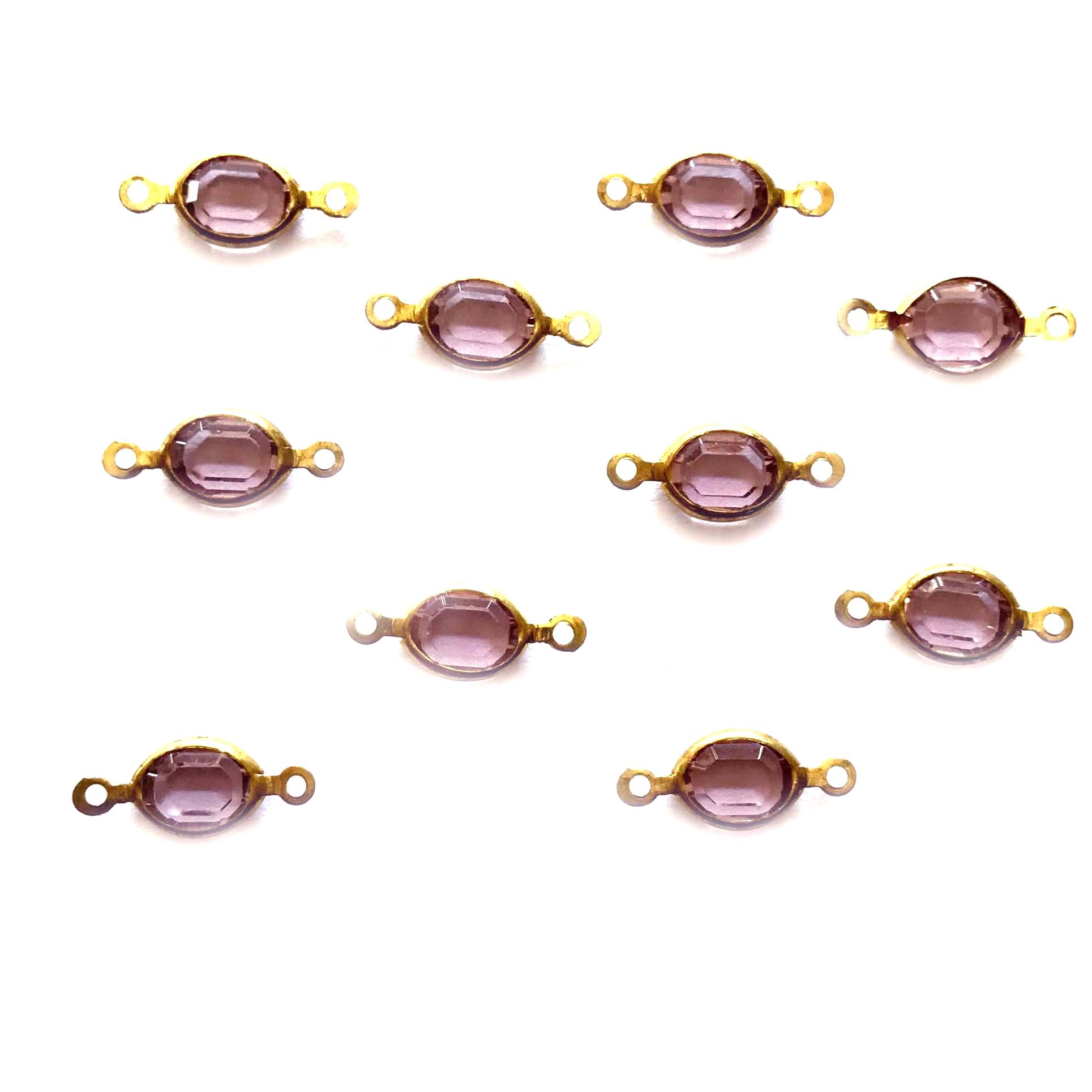 Swarovski Connectors, purple, 03834, connectors, bezel wrapped stones, glass, glass stones, brass, vintage style jewelry, US made, nickel free, Chanels,  jewelry making, vintage supplies, B'sue Boutiques