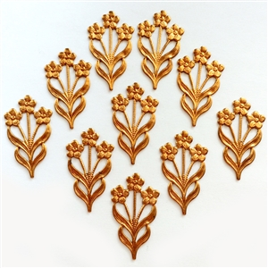 Vintage Flowers, 10 Piece, Flower Stems, Jewelry Making Supplies, Copper Coat, 32 x 18mm
