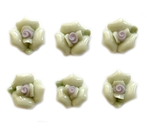 Ceramic Bisque Roses, 6 Piece, Glazed Ceramic Roses, Handmade, Flat Back Flowers, Soft Mint Green, Vintage Jewelry Supplies, 12mm, B'sue Boutiques
