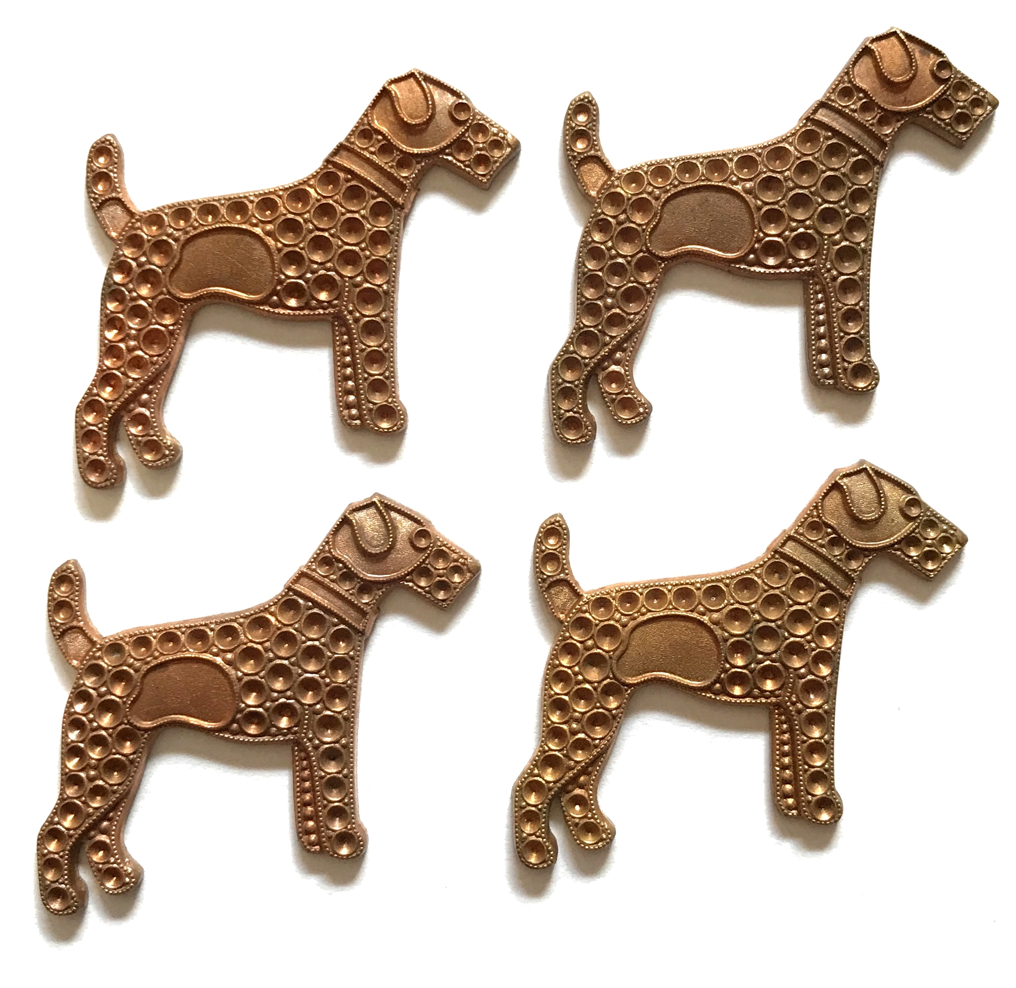 Vintage French Stampings, 4 Piece, Airedale Dog with Stone Set Design, Dog Jewelry, Vintage Supplies, Gingerbread Patina, 30 x 39mm, B'sue
