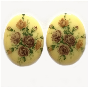 Vintage German Decal Cameos, 2 Piece, German Porcelain Cameos, Vintage Rose Flower Bouquet, Rose Cameo, 40x30mm, B'sue Boutiques