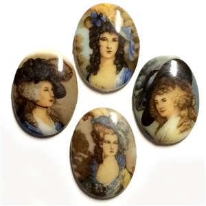 West German Porcelain Cameos, 4 Piece, Assorted Victorian Ladies, Decal Cameos, Jewelry Making, 25x18mm, Bsue Boutiques, Vintage Cameos