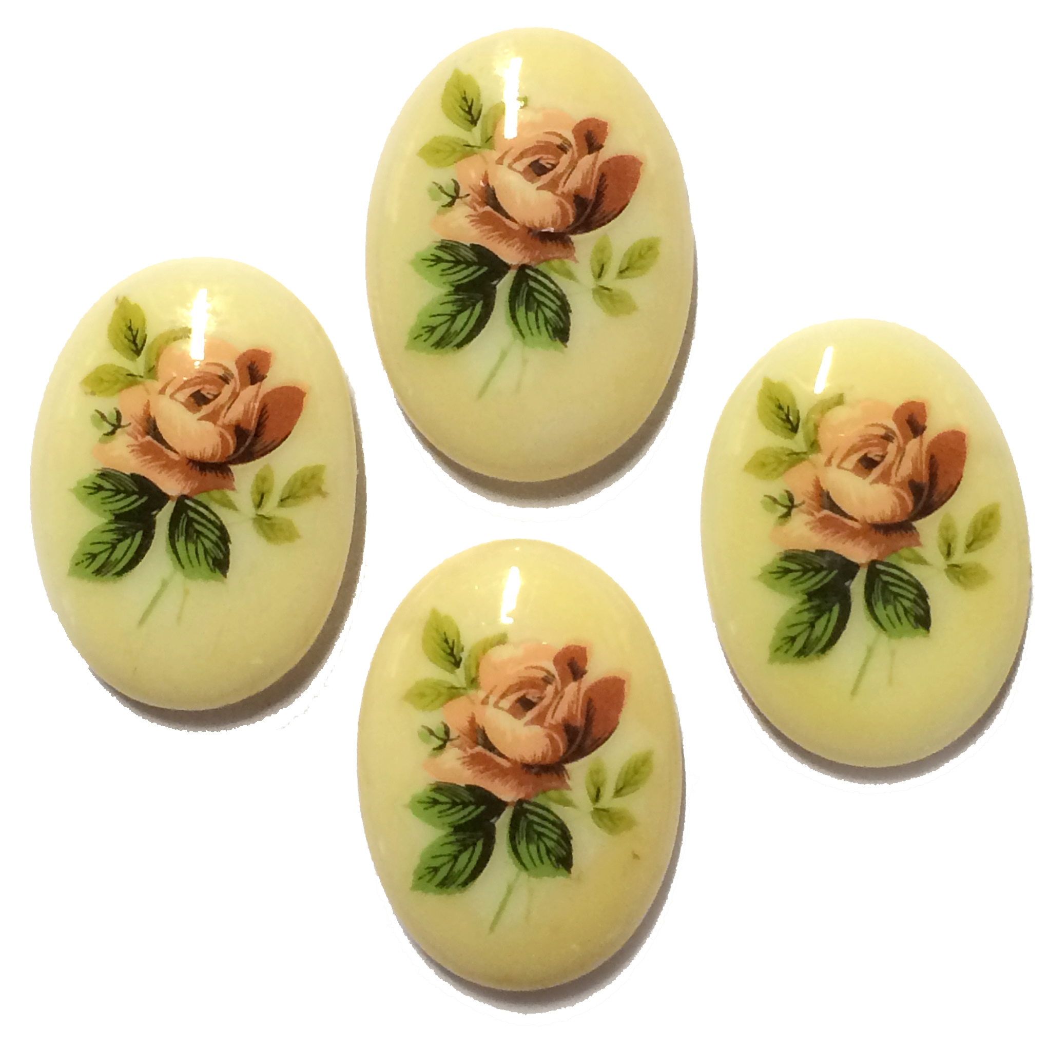 Vintage Desert Rose Cameos, German Decal, 03869, vintage jewelry supplies, jewelry making supplies, floral cameos, peachy roses, flat back cameos, decal cameos, rose decals