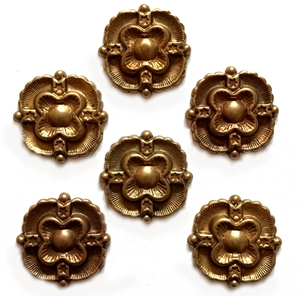 French Medallions, 6 Piece, Centerpieces, Vintage Brass, Floral Center, Patina Brass, Jewelry Making, 26mm