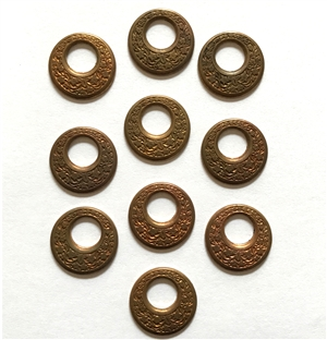 Vintage Floral Circlets, 10 Piece, Circlets, Connectors, Patina Brass, Brass, Pendant, Earrings, Vintage Supplies, 19mm